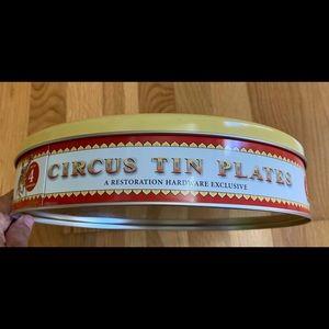 Restoration hardware circus theme tin plates